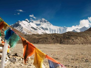 View of everest with prayer flags in foreground