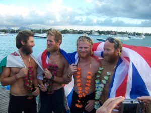 (L-R) Tom, Ed, Ollie and James moments after arriving on land